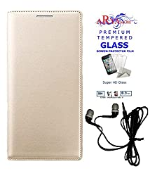 Aryamobi PU Leather Gold Flip case cover for Xiaomi Redmi Note 3 with Tempered Glass Screen Protector cover and Earphone