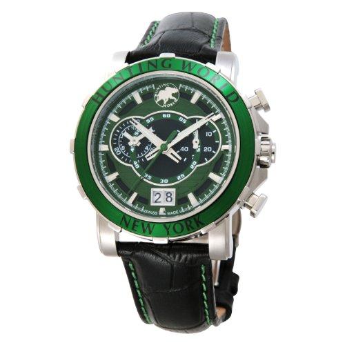 [ハンティングワールド]HUNTING WORLD 腕時計 イリス グリーン 緑革 クオーツ HW913GR メンズ 【正規輸入品】