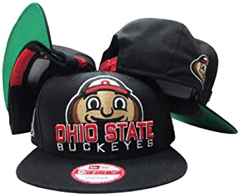 Ohio State Buckeyes Black Plastic Snapback Adjustable Plastic Snap Back Hat Cap by New+Era