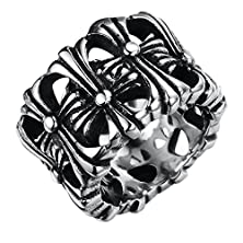 buy Mens'S 316L Stainless Steel 16Mm Wide Fashion Retro Punk Rock Multi Crosses Band Ring