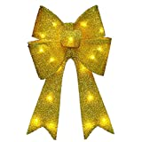 National Tree Gold Tinsel Bow with 13 Warm White LED Lights, 20-Inch