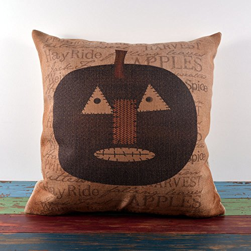 45X45Cm Vintage Lantern Cartoon Pumpkin Skull Cushion Covers Pillow Cases With Free Placemat Halloween All Hallows' Eve front-155738