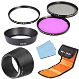 K&F Concept 58mm UV CPL FLD Lens Accessory Filter Kit UV Protector Circular Polarizing Filter for Canon 600D EOS M M2 700D 100D 1100D 1200D 650D DSLR Cameras + Bayonet Lens Hood (replacement Canon EW-60C ET-60) + Lens Cleaning Cloth + 3 Slot Filter Pouch
