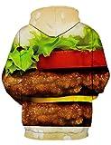 RAISEVERN Fuuny Food Hamburger Print Pockets Pullover Hoodie Sweatshirt Couple