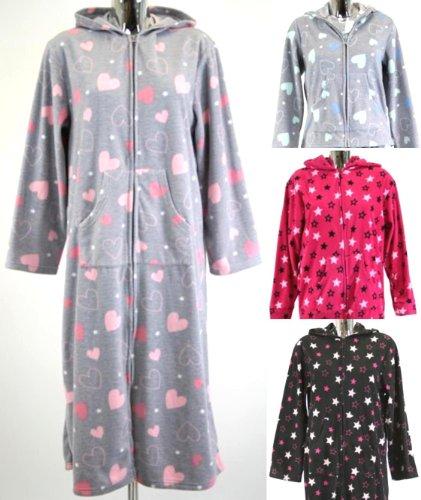 Ladies Womens Zipped Fleece Robe Hooded Dressing Gown Zip Hood 10-12 14-16 18-20