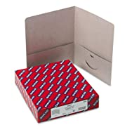 Two-Pocket Folders, Embossed Leather Grain Heavy Paper, Gray, 25/Box