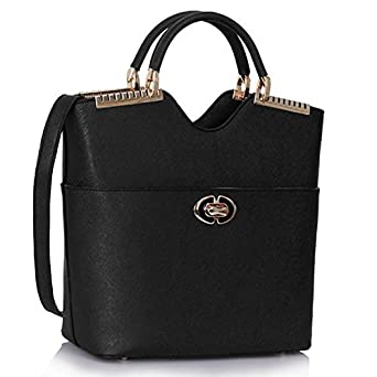 Womens Beautiful Tassel Bucket Celebrity Inspired Luxurious Stylish Tote Bag (Black Fashion Bag)