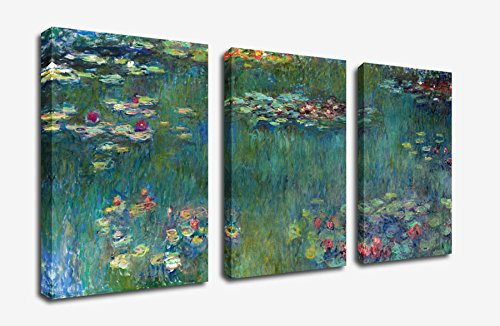 x large canvas prints claude monet oil painting wall art decor 3 panels painting print on canvas framed and ready to hang modern giclee art work for