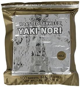 Yaki Nori Gold Roasted Seaweed Half Cut, 100-Count Units (Pack of 2)