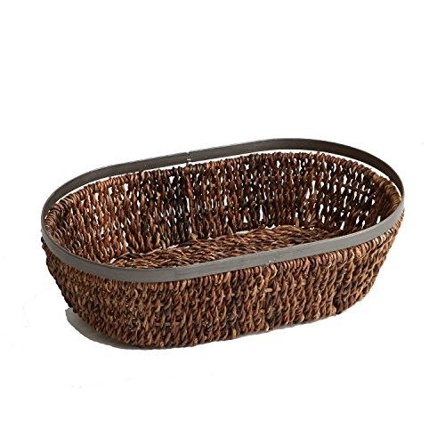 Woodard & Charles Abaca Metal Trim Oval Basket, 13-Inch