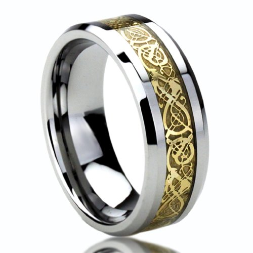 Unisex Men'S 8Mm Titanium Comfort Fit Wedding Band Ring Gold Inlay Celtic Dragon Flat Ring (8 To 14) - Size: 10