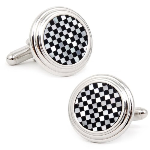 Onyx And Mop Checker Step Cufflinks