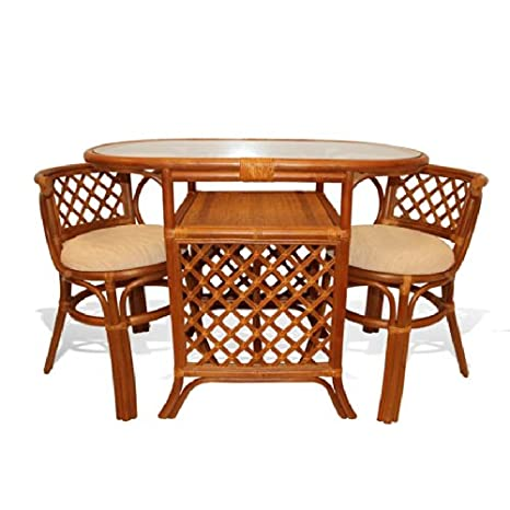 Borneo Compact Dining SET Table+2 Chairs Brown Handmade Natural Wicker Rattan Furniture