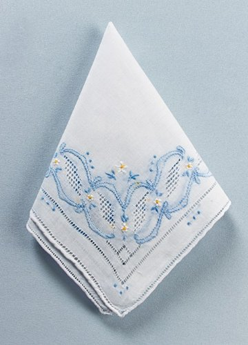 Something Blue Hankie White Beverly Clark Wedding Handkerchief Keepsake back-798332