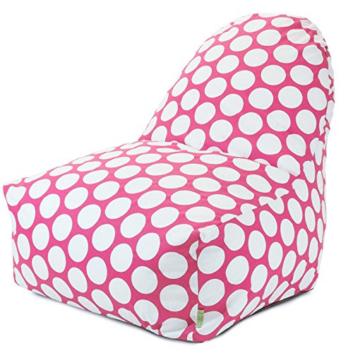 Majestic Home Goods Large Polka Dot Kick-It Chair, Hot Pink front-578394