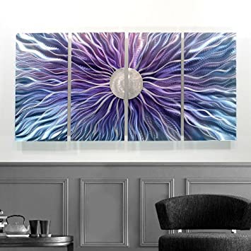 Ideal Large Blue Purple and Silver Metal Wall Art Painting Panel Art Wall Decor Wall Sculpture Modern
