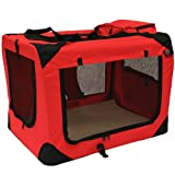Mool Lightweight Fabric Pet Carrier Crate with Fleece Mat and Food Bag, Large, 70 x 52 x 52 cm, Red
