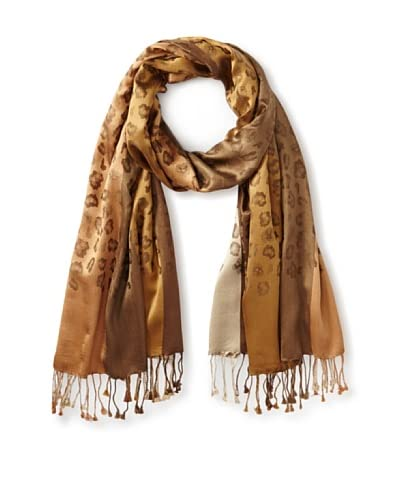 Saachi Women's Silk Leopard Woven Scarf, Taupe As You See