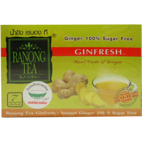 Ginfresh Instant Ginger Sugar Free Herbal Drink 100% Natural Net Wt 35 G (7 Sachets) Ranong-Tea Brand X 4 Boxes