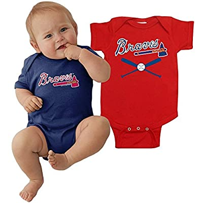 Atlanta Braves MLB Newborn Infant Baby Creeper Home and Away Set