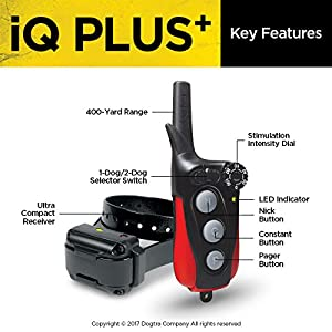 Dogtra IQ Plus+ Remote Training Collar - 400 Yard Range, Waterproof, Rechargeable, Shock, Vibration - Includes PetsTEK Dog Training Clicker (Color: Black, Tamaño: 1 Dog System - IQ-PLUS)