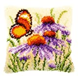 Vervaco Echinacea and Butterfly Latch Hook Cushion, Multi-Colour
