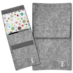 SIMON PIKE Hülle Handytasche Sidney 8 grau für Apple iPhone 5S 5C 5 aus Filz