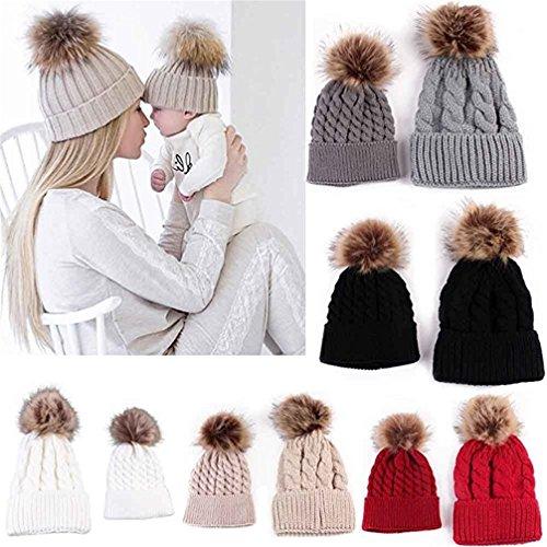 Gotd Mom and Baby Knitting Cap Winter Warm Hat Hemming Beanie (Khaki)
