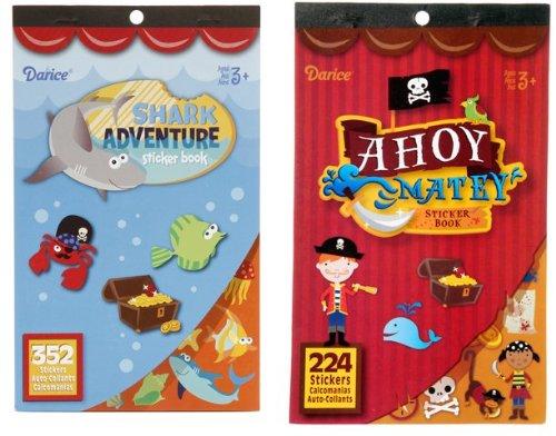 2 BOOKS of Mini PIRATE & SHARK Themed STICKERS - (576 total stickers) AHOY Maties - DEEP Sea ADVENTURE-Treasure Kid's ACTIVITY/Craft