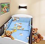 COT BUMPER 100 COTTON PADDED FOR BABY FIT COT 120x60 140x70 STRAIGHT 190cm to fit cot 140x70cm Teddy Ladder Blue