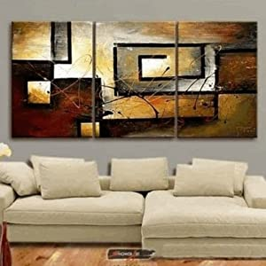 100% Hand Painted Modern Oil Painting on Canvas Wall Art Home Decoration 3 Piece Canvas Art Unframe and Unstretch