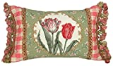 123 Creations 100-Percent Wool Tulip Petit Point Pillow with Fabric Trimmed, 18 W x 12 H