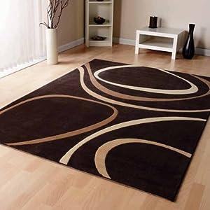 Modern Brown Cream Beige Modern Designer Carpet Home Rug 3 Sizes Available from Modern Style Rugs