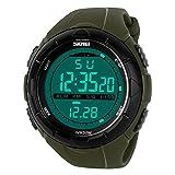 SKMEI 腕時計 大きい文字盤 スポーツ デジタル LED 防水 シンプル メンズ ミリタリーグリーン