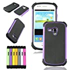 Voberry 1 x Hybrid Rugged Rubber Hard High Impact Armor Case Cover For Samsung Galaxy S III Mini i8190 (Purple)