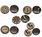 25 18mm Patterned 2 Holes Coconut Shell Sewing Buttons