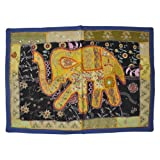 Embroidered Wall Hanging Cotton Tapestry Mirror Work Patchwork 27 By 38 Inches