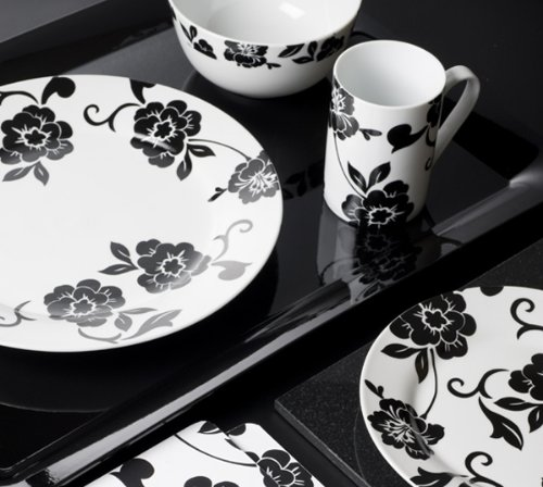 16 piece Vivienne Black & White Porcelain Dinner Set from Creative Tops