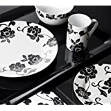 16 Piece Vivienne Black & White Porcelain Dinner Set by Creative Tops