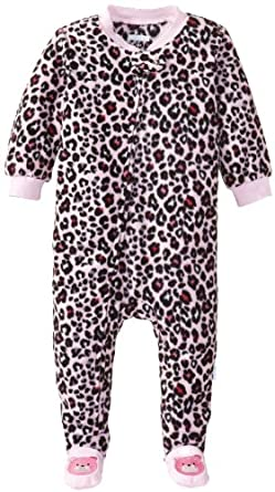 Vitamins Baby Baby-Girls Infant Leopard Print Footed Pajama, Pink, 12 Months