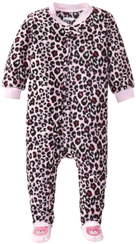 Vitamins Baby Baby-Girls Infant Leopard Print Footed Pajama, Pink, 12 Months front-896401