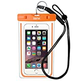 Waterproof Case Bag : EOTW Waterproof Dry Bag with Military Class Lanyard; IPX8 Certified to 100 Feet for Kayaking Swimming, Fit iPhone 6 6s 5s SE, Galaxy S7 S6 S5, Note 5 4, LG Blu HTC -Orange+Black