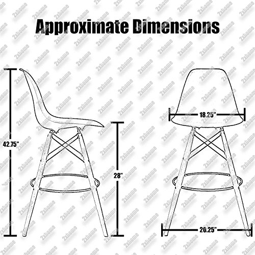 """2xhome - Set of Two (2) - White - 28"""" Seat Height Eames Chair Style DSW Molded Plastic Bar Stool Modern Barstool Counter Stools with backs and armless Natural Legs Wood Eiffel Legs Dowel-Leg…"""
