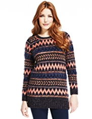 Indigo Collection Fair Isle Fluffy Jumper with Wool