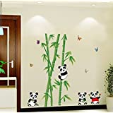 Oren Empower Playing Panda PVC Vinyl Large Wall Sticker For Kids Room (Finished Size On Wall - 115(w) X 118(h) Cm)