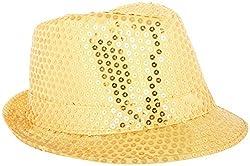 Masti Station Unisex Fedora Party Hat (Fhp01, Gold)