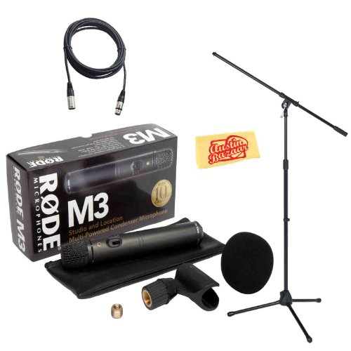 Rode M3 Versatile End-Address Condenser Microphone Bundle With Mic Stand, Mic Cable, Mic Clip, Bag, Windscreen, And Polishing Cloth