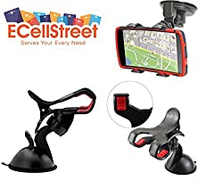 ECellStreet Mobile phone soft tube mount holder with suction cup - Multi-angle 360 Degree Rotating Clip Windshield Dashboard Smartphone Car Mount Holder For LG Optimus L3 Dual E405