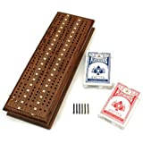 Cabinet Cribbage Set - Solid Oak Medium Stained Wood with Inlay Sprint 3 Track Board with Metal Pegs & 2 Decks of Cards