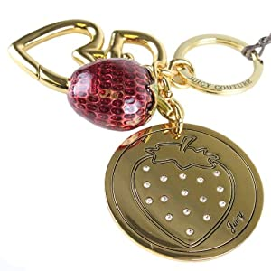 Juicy Couture Rhinestone Strawberry Charm Keychain Key Fob